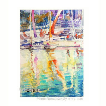 Flying Colors, sailboats, Singapore aceo painting wallart landscape id1360178 original watercolor, not a print, wall art, harbor, seascape