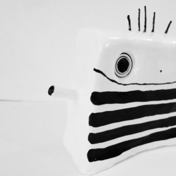 LARGE Original Black and White Modern Minimalist Clay Sculpture of polkadotty Ooak - FREE Shipping (Canada & US)