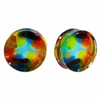 Multi-Color SPOT Design Hand Blown Pyrex Glass Plugs - Monster Steel