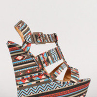 Women's Dollhouse Tribal Strappy Open Toe Platform Wedge