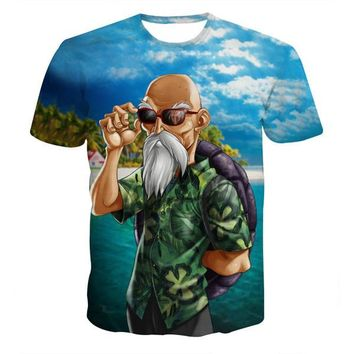 Dragon Ball Z Master Roshi 3D Short Sleeve Anime T-Shirt