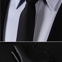 "TL201L5 Pure Black Solid 2.17"" 100%Silk Woven Slim Skinny Narrow Men Tie Necktie Handkerchief Pocket Square Suit Set"