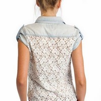 lace back denim shirt $31.70 in LTBLUE - Short Sleeve | GoJane.com