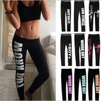 Women's S-XL Work Out Letter Printed Black Fitness Leggings Casual Sexy Modal Sportwear Leggings Sport Leggings 9 Color