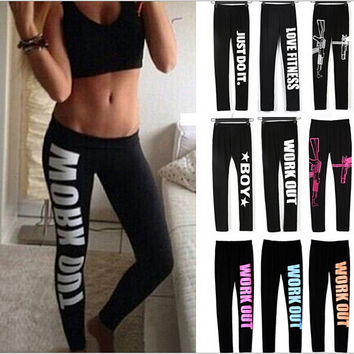 Just Do It, Love Fitness, Boy and more - Leggings With Sayings - 9 Colors Available In All Sizes