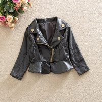 Toddler Baby Boy Girl Toddler PU Leather Jacket Coat Winter Clothes Outerwear