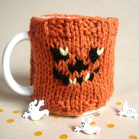 Knitted Pumpkin Coffee Mug Cozy – Jack O Lantern Halloween Decor Mug Cozy – Halloween Pumpkin Decoration – Holiday Decor - Fall Decor Finds