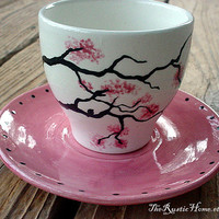 Cherry blossom teacup set pink black white