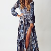 BOLD BEAUTY BELL SLEEVE MAXI DRESS