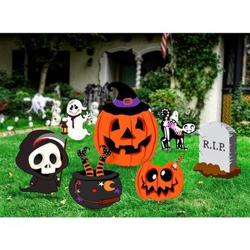 7Pcs Skeleton Ghost Pumpkin Scary Ghost Yard Stakes Set Outdoor Tombstone Cat Premium Practical Horrible Lawn Decorations
