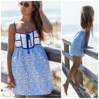 Catch My Wave Blue And White Sundress