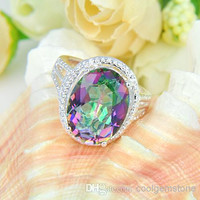 10pcs/lot Free shipping - Royal style 925 silver Beautiful design Natural Mystic topaz best for Lovers' Ring CR0179