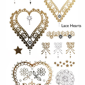 Lace Hearts Metallic Temporary Flash Tattoo Gold Silver Festival Beach Holiday Gift Present Gift Present Flash Tattoo