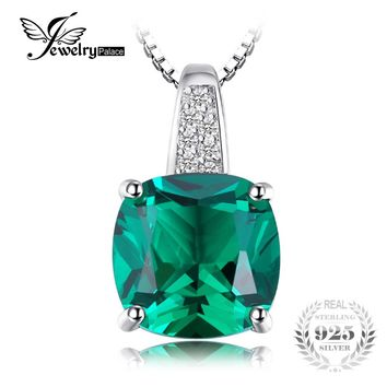 JewelryPalace Cushion 3.4ct Created Emerald Necklaces & Pendants Silver 925 Jewelry For Women Accessories Not Include A Chain