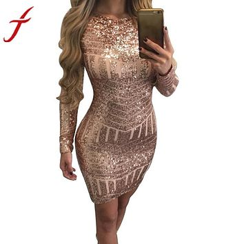 Women's Classic Long Sleeve Sequined Low Back Bodycon Bandage Dress.