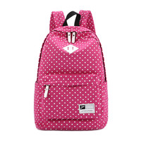 ♡ Canvas Polka Dot Pattern Backpack School Bag Student ♡