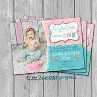 Shabby chic birthday invitation, teal and pink pearls and lace invite, #228 Digital file
