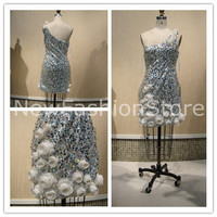New Fashion One Shoulder Sequins  Beading Mini Short Prom Party Dress