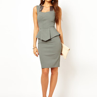 Hybrid Pencil Dress With Cut Out Neck and Satin Inserts