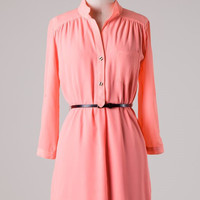 Neon Apricot Shirt Dress with Belt