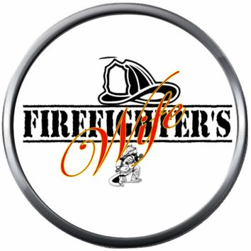 Fire Rescue Helmet Fireman Firefighter Wife Thin Red Line Courage Under Fire 18MM-20MM Snap Charm Jewelry