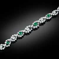 Emerald Bracelet - Diamond Bracelet - Emerald Jewelry - Diamond Jewelry - Estate Jewelry - Fine Jewelry ~ M.S. Rau Antiques