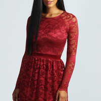 Jasmine Long Sleeve Zip Back Lace Dress