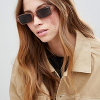Quay Australia Festival Collection Featuring Sofia Richie Strange Love Square Sunglasses In Brown at asos.com