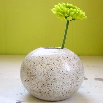 modern globe vase with kenzan by JDWolfePottery on Etsy