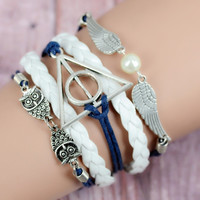 best gift,owl Harry Potter Deathly Hallows Snitch wings bracelet,Imitation pearl,navy blue bracelet, white woven leather (Color: White) = 1932697476