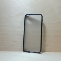 Silicone Bumper and Translucent Frosted Hard Plastic Back Case for iPod Touch 5 - Black