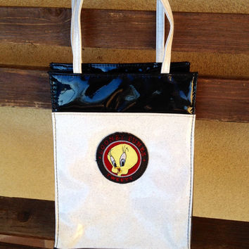 Tweety Small Tote Bag, TWEETY Warner Bros 90s school bag, Looney Toones Bag, Tweety Lunch Tote, Tweety Gift, Tweety Collectible
