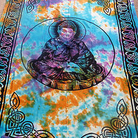 Buddha Tie Dye Zen Buddhism Hippie Wall Hanging Indian Tapestry Bedspread Throw