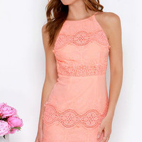Worth It Peach Backless Lace Dress