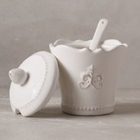 Fleur De Lys Sugar Pot by Anthropologie in White Size: Sugar Pot Serveware