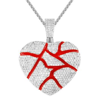 Men's Custom Broken Heart Red Love Iced Out Rapper Pendant