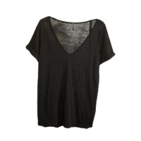 Black Deep V Neck T-Shirt