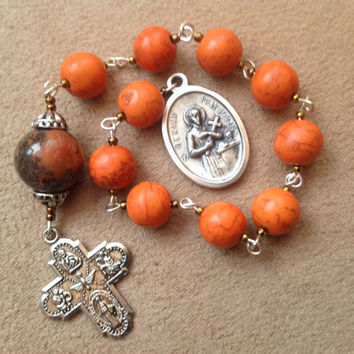 Tangerine Orange Pocket Rosary Handmade Chaplet
