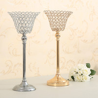 Metal Crystal Candle Holder Pillars Home decor Candle Stand