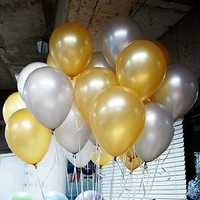 "Shipping Free--germany 10"" Advertising Natural Latex Pearl Gold&sliver Balloons 100pcs/pack"