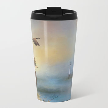 Lighthouse In Time Metal Travel Mug by Theresa Campbell D'August Art