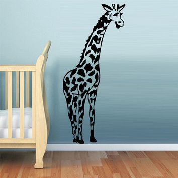 rvz713 Wall Vinyl Sticker Bedroom Giraffe Kids Baby Nursery Animal Camelopard