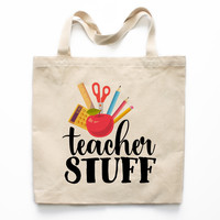 Teacher Stuff Canvas Tote Bag