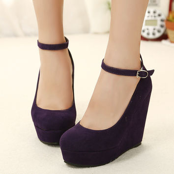 High Heel Fashion Waterproof Wedge Water Proof Suede Stylish Shoes = 4814771396