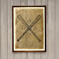 Vintage poster Baseball bats print Sports decor