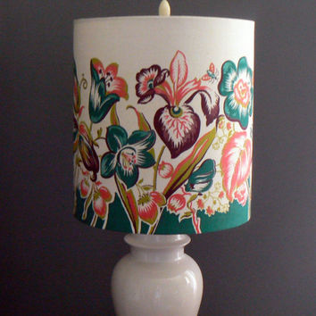 Vintage Garden Fabric Drum Lamp Shade, Floral Border with Butterflies