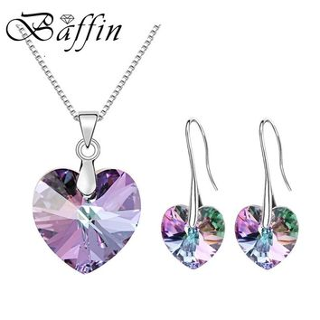 BAFFIN Original Crystals From Austrian XILION Heart Pendant Necklaces Drop Earrings Jewelry Sets For Women Lovers Gift