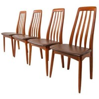 Pre-owned Slim Teak Tall Danish Dining Chairs - Set of 4