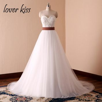 Lover Kiss Vestido De Noiva Simple White A-Line Country Western Wedding Dresses Bride Spring Summer Pearls Bridal Gowns Designe
