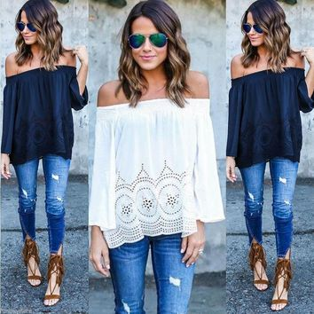 Women's Off The Shoulder Lace Blouse Shirts Summer T-Shirts Casual Beach Tops US